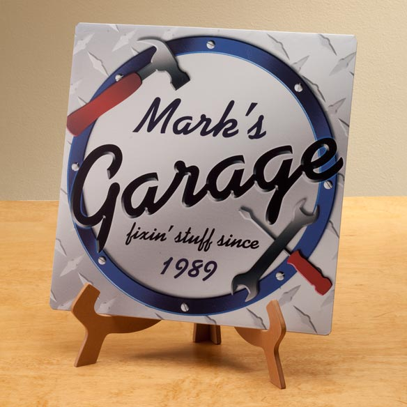 Personalized 12x12 Garage Metal Wall Plaque - View 2
