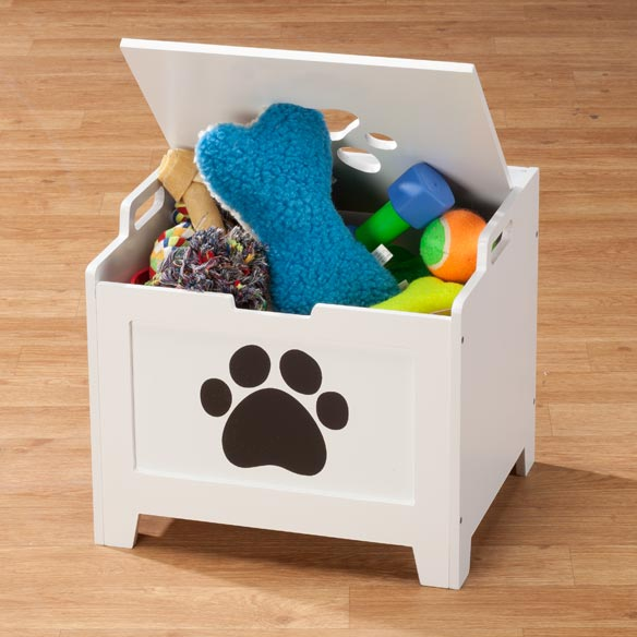 Personalized White Paw Wooden Toy Box For Dogs - View 2