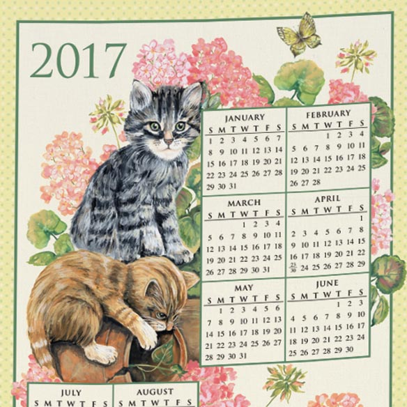 Personalized Curious Kittens Calendar Towel - View 2