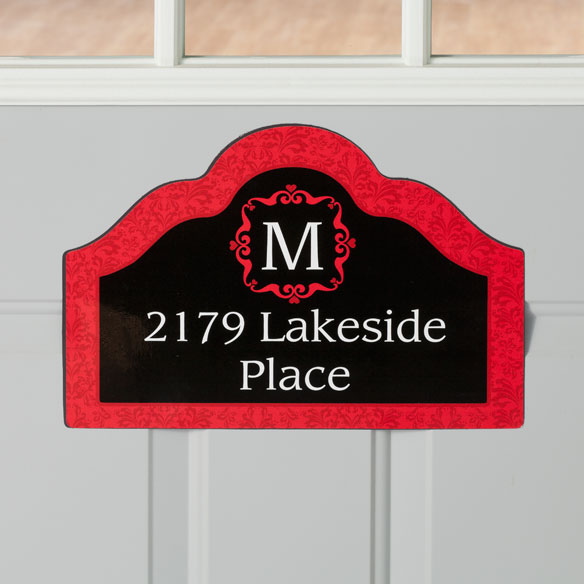 Personalized Red Damask Magnetic Sign - View 2
