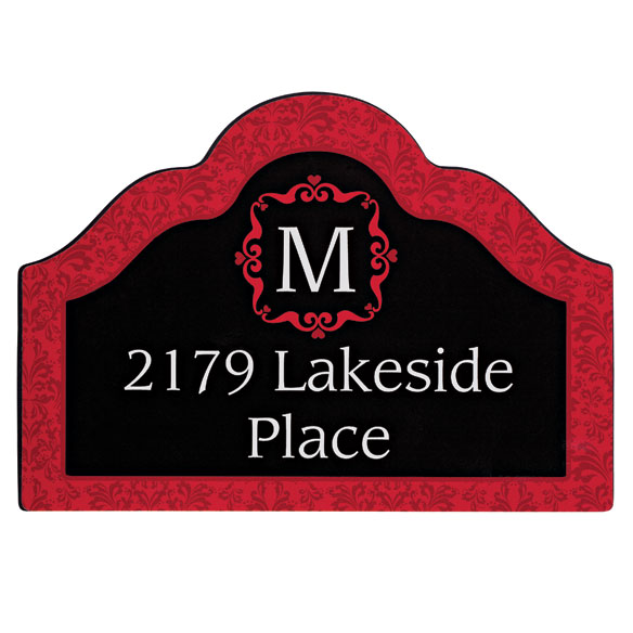 Personalized Red Damask Magnetic Sign - View 3