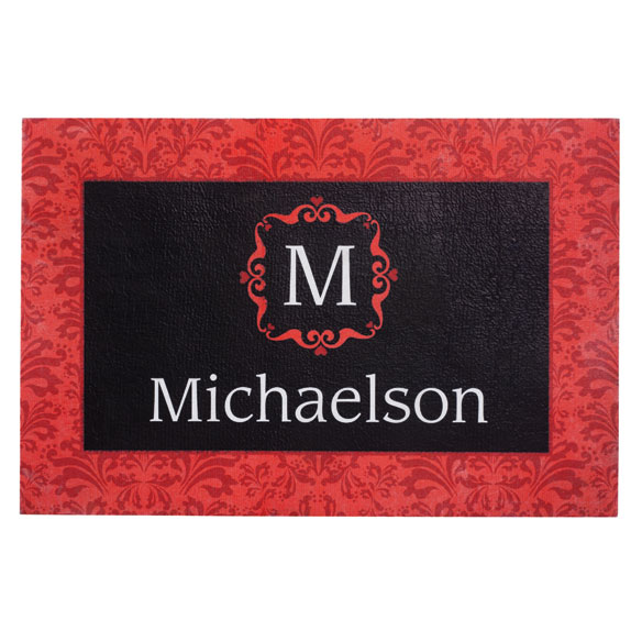 Personalized Red Damask Doormat - View 2