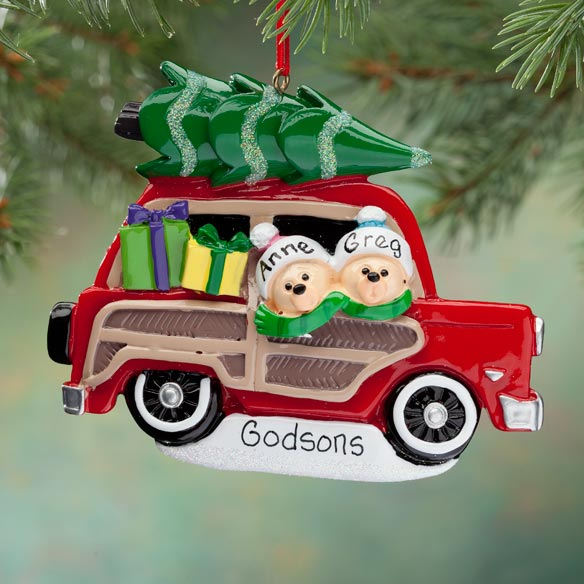 Personalized Woody Wagon Ornament - View 2