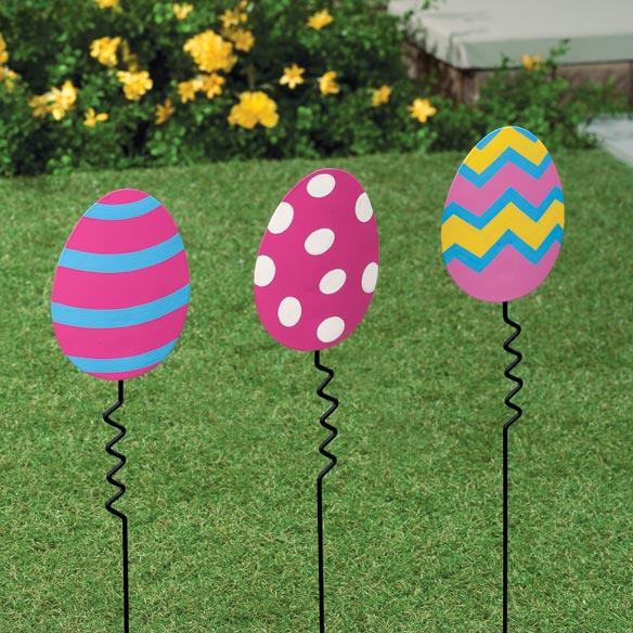 Striped Easter Egg Yard Stake - View 2