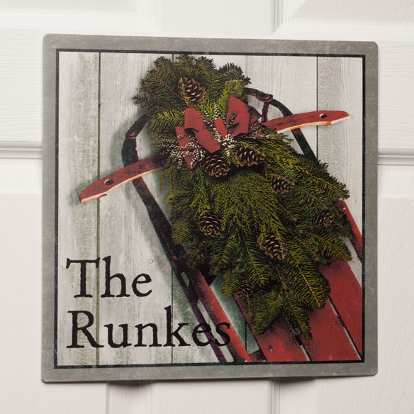 Personalized 12x12 Holiday Sled Metal Wall Plaque - View 2