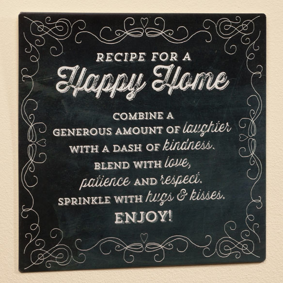 12 x 12 Recipe For  A Happy Home Metal Wall Plaque - View 2