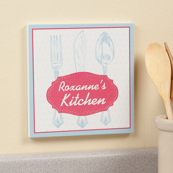 Personalized 8 x 8 Spoon & Fork Wooden Wall Plaque - View 2
