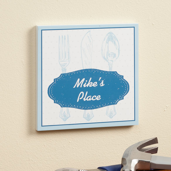 Personalized 8 x 8 Spoon & Fork Wooden Wall Plaque - View 3