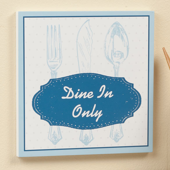 Personalized 8 x 8 Spoon & Fork Wooden Wall Plaque - View 4