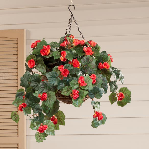 Silk Begonia Hanging Bush - View 2