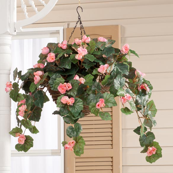 Silk Begonia Hanging Bush - View 3