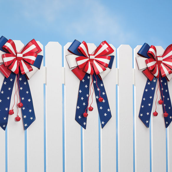 Patriotic Metal Bow Door Hanger by Maple Lane Creations™ - View 2