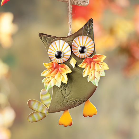 Metal Harvest Owl Decoration - View 2