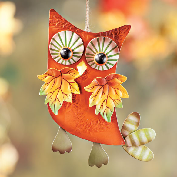 Metal Harvest Owl Decoration - View 4