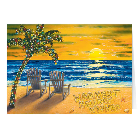 Coastal Happy Holidays Card Set of 20 - View 2