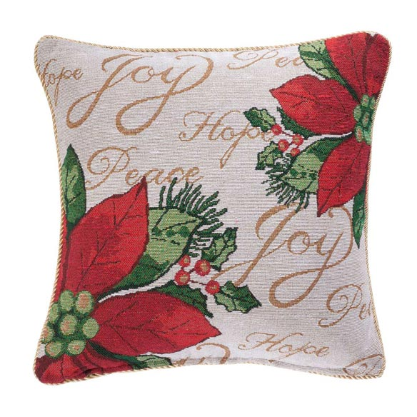 Holiday Needlepoint Poinsettia Pillow Cover - View 2
