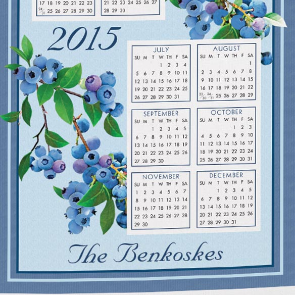 Personalized Blueberry Calendar Towel - View 3