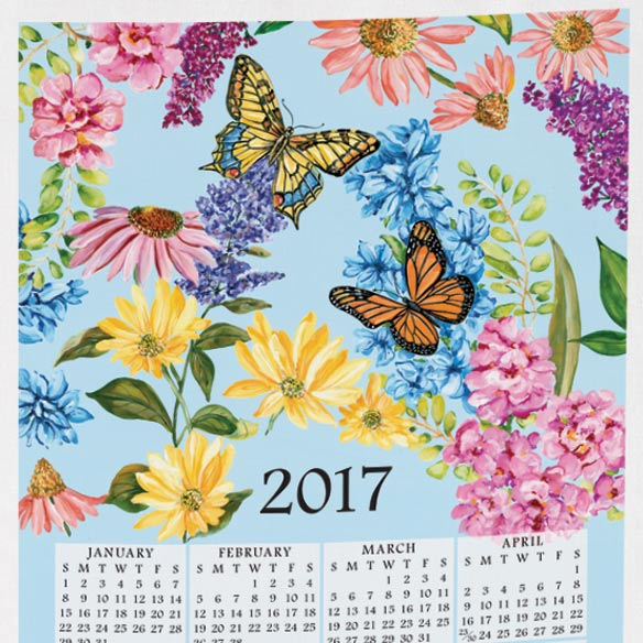 Personalized Butterfly Garden Calendar Towel - View 2