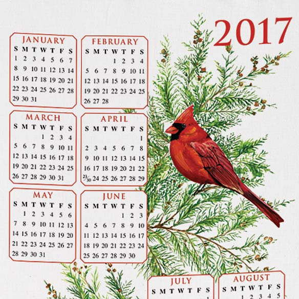 Personalized Cardinal and Fir Calendar Towel - View 2