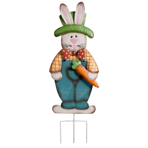 Metal Easter Bunny Boy Garden Stake By Maple Lane
