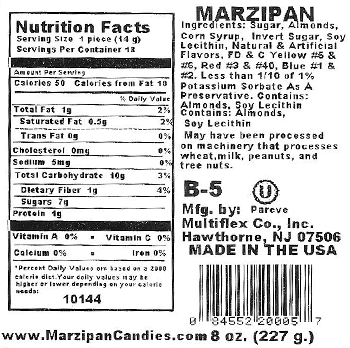 Mixed Fruit Marzipan Candy Nutrition Facts