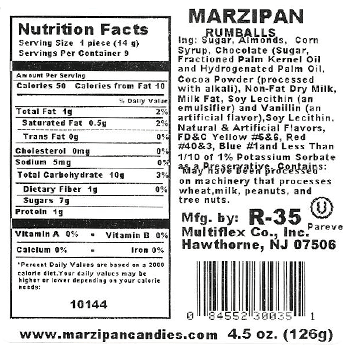 Rum Balls 4.5oz Nutrition Facts