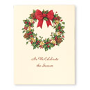 Wreath Of Gold Christmas Card