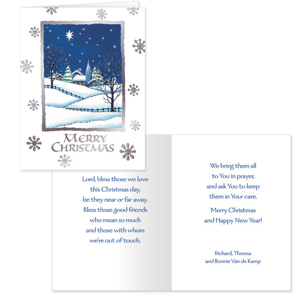 Bless Those We Love Chapel Personalized Christmas Cards - Set Of 20