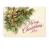 Nature Inspired - Christmas Greenery Secular Christmas Card Set of 20