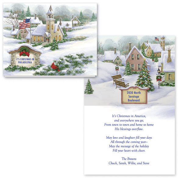God Bless America Christmas Card Set of 20 - View 1