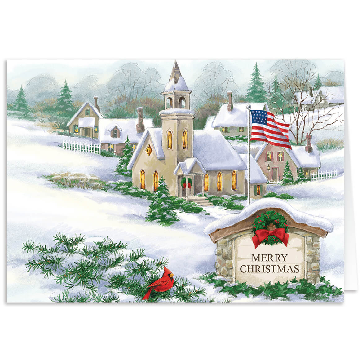 Personalized God Bless America Christmas Card Set of 20-300502