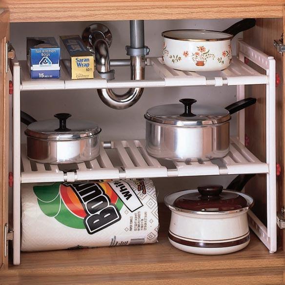 Sink Organizer Shelf Under Kitchen Cabinet Storage Sliding: Under Sink Kitchen Shelf