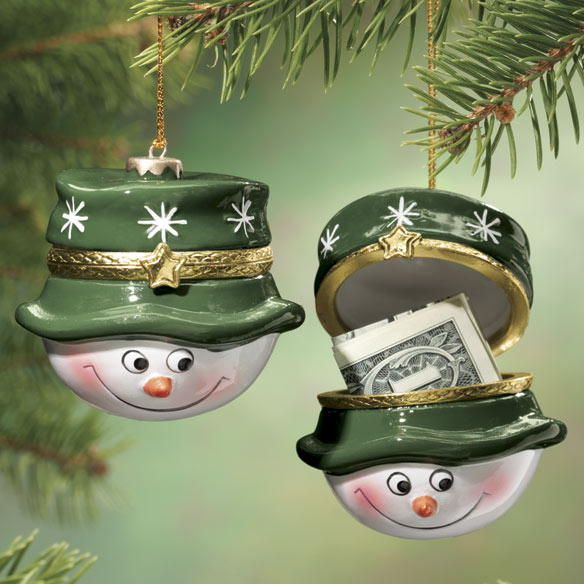 Snowman Trinket Box Ornament