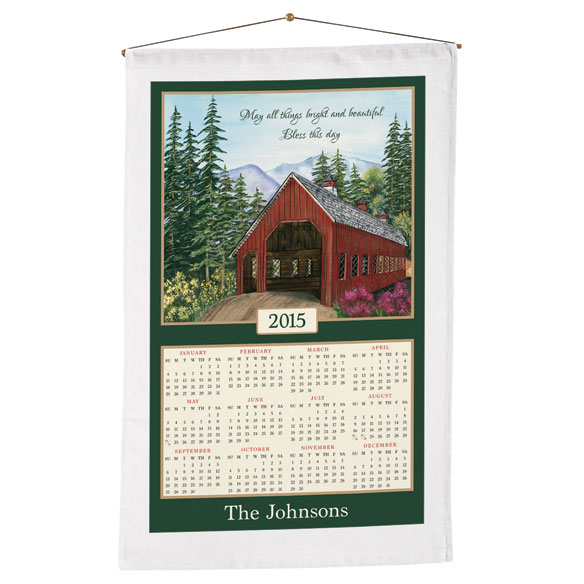 Personalized Covered Bridge Calendar Towel - View 1