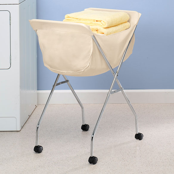 Rolling laundry cart portable clothing basket white liner wheeled folding new ebay - Collapsible laundry basket with wheels ...