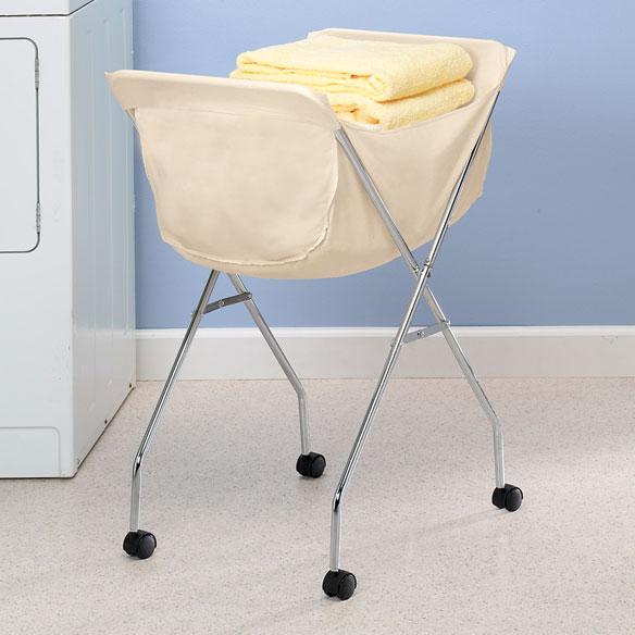 Rolling laundry cart portable clothing basket white liner wheeled folding new ebay - Collapsible laundry basket with wheels ...