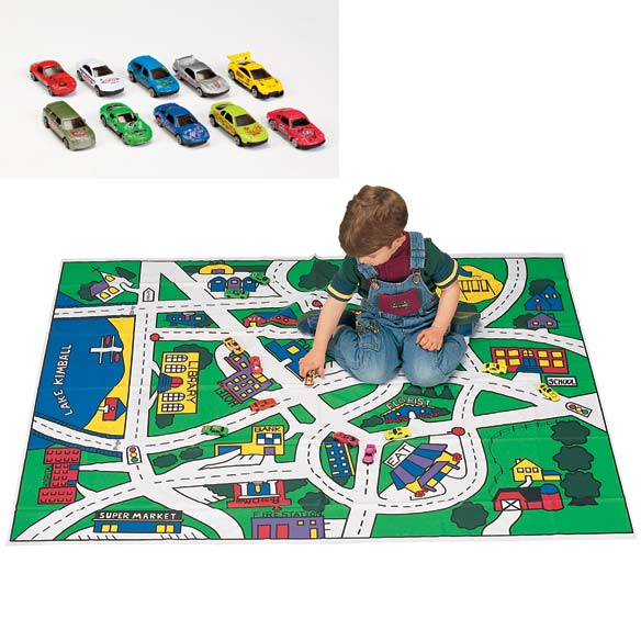 Toy Car Floor Mat and Car Set - View 1