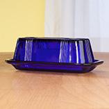 Kitchen - Cobalt Blue Depression Style Glass Butter Dish