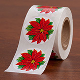 Address Labels & Seals - Poinsettia Envelope Seals