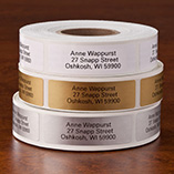 Self Stick Address Labels - Roll of 500, Gold