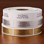 Self Stick Address Labels - Roll of 1000, Gold
