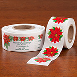 Address Labels & Seals - Poinsettia Labels And Seals - Sets of 250