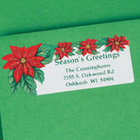 Address Labels & Seals - Poinsettia Return Address Labels - Set of 250