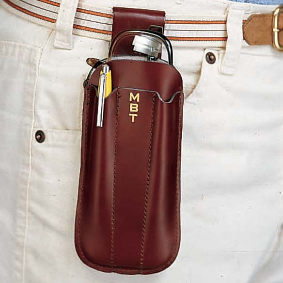 Personalized Eyeglass and Pen Holster Brown