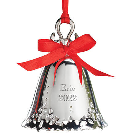 Personalized Silver Bell Ornament-310963 ... - Christmas Tree Ornaments - Miles Kimball