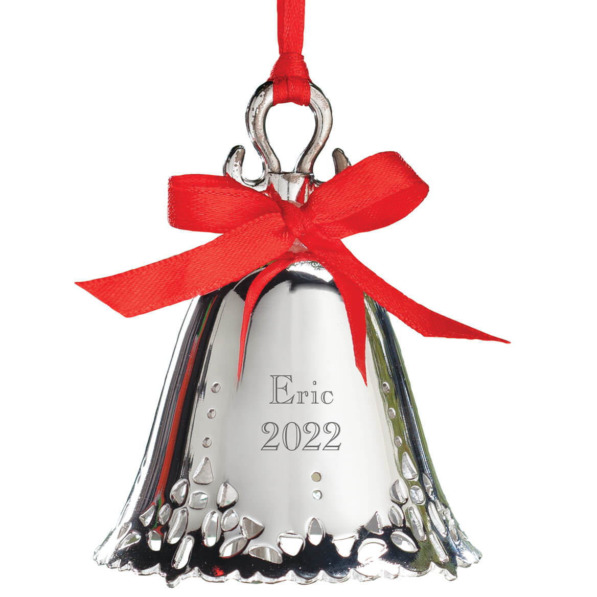 Personalized Silver Tone Bell Ornament-310963