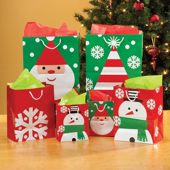 Christmas Value Gift Bags - Set Of 10