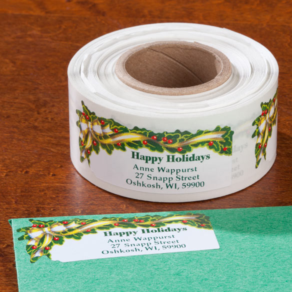 Holly And Ribbon Return Address Labels - Set Of 250