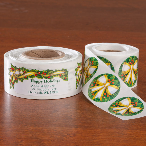 Holly and Ribbon Labels and Seals