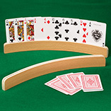 Puzzles, Games & Playing Cards - Curved Wooden Card Holders - Set Of 2